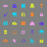 Business management color icons on gray background Stock Images
