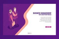 Business management communication concept, web page template banner, businessman suitcase isometric vector. Business management communication concept, web page Stock Photo