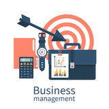 Business management, concept. Flat design style vector illustration. Planning and achievements. Target work Royalty Free Stock Image