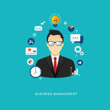 Business management concept flat illustration. Office man with i Stock Image