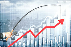 Business management concept. Upward chart arrow suspended on fishing rod. City and graph bars in the background. Business management concept. 3D Rendering Royalty Free Stock Photography