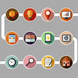 Business management and data analytics icon set Stock Photos
