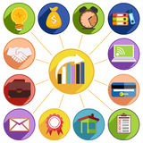Business management and data analytics icon set Stock Images