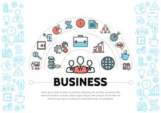 Business Management And Finance Elements Template. With colorful and blue line icons isolated vector illustration Stock Photo