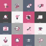Business, management, finances, education and technology icon set. Colorful universal icon set for websites and mobile application. S. Flat vector illustration Stock Photo