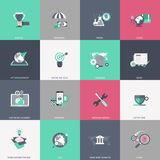 Business, management, finances, education and technology icon set. Colorful universal icon set for websites and mobile application. S. Flat vector illustration Stock Photos