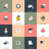 Business, management, finances, education and technology icon set. Colorful universal icon set for websites and mobile application. S. Flat vector illustration Stock Photography