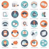 Business, management, finances and technology icon set. Flat vector. Illustration Royalty Free Stock Photos