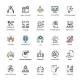 Business Management Flat Icons. A colored flat icons set of business management with all related icons. A wide range including financial aspects, market related Royalty Free Stock Images