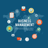 Business management flat illustration with icons Royalty Free Stock Images