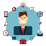 Business Management Flat Illustration Stock Image