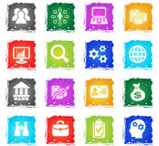 Business management and human resources icon set Stock Photos