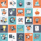 Business and management icon set. Set of flat design icons for business. Icons for website development and mobile phone services and apps vector illustration