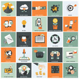Business management icon set. Set of flat design icons for business, support service, creative process, web analysis, business language, digital marketing vector illustration