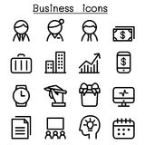 Business management icon set in thin line style. Illustration Stock Image