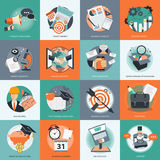 Business and management icon set for website development and mobile phone services and apps. Flat  illustration Royalty Free Stock Images