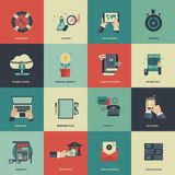 Business and management icon set for website development and mobile phone services and apps. Flat vector. Illustration Royalty Free Stock Images