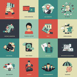 Business and management icon set for website development and mobile phone services and apps. Flat vector. Illustration Stock Photo