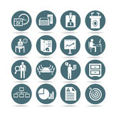Business management icons, app buttons. Set of 16 business icons, round buttons Stock Images