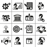 Business management icons black Stock Photos