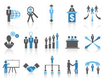 Business and Management Icons, blue series. Blue Business and Management Icons from white background Royalty Free Stock Photos