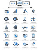 Business Management icons. Blue version Royalty Free Stock Photography
