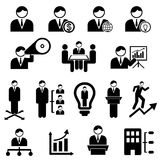 Business and management. Icons with businessman Royalty Free Stock Photos