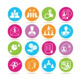 Business management icons. Collection of 16 business management icons in colorful buttons Royalty Free Stock Image