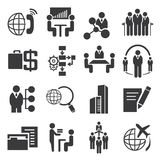 Business management icons. Business management concept set,  administration, black icons Royalty Free Stock Images