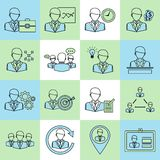 Business and management icons flat line Stock Photography