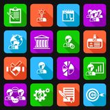 Business management icons flat Royalty Free Stock Image