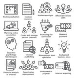 Business management icons in line style. Pack 09. Business management icons in line style on white. Pack 09 Royalty Free Stock Photos