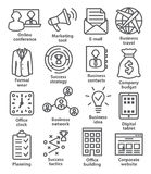 Business management icons in line style. Pack 12. Business management icons in line style on white. Pack 12 Royalty Free Stock Images