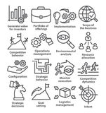 Business management icons in line style. Pack 15. Business management icons in line style on white. Pack 15 royalty free illustration