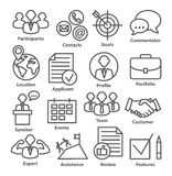 Business management icons in line style. Pack 25. Business management icons in line style on white. Pack 25 Stock Images