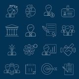 Business management icons outline Stock Image