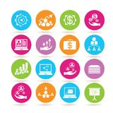 Business management icons. Set of 16 business management icons in colorful buttons Stock Photos