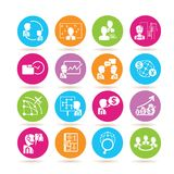 Business management icons. Set of 16 business management icons in colorful buttons Royalty Free Stock Image