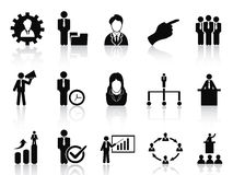 Business and management icons set. Isolated black business and management icons set from white background Stock Images