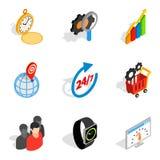 Business management icons set, isometric style. Business management icons set. Isometric set of 9 business management vector icons for web isolated on white Stock Photography
