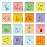 Business management icons sticky note paper Stock Image