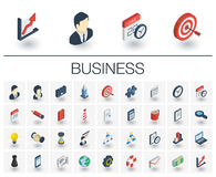 Business and management isometric icons. 3d vector. Isometric flat icon set. 3d vector colorful illustration with business, management symbols. Marketing Royalty Free Stock Image