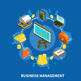 Business Management Isometric Round Composition. Business management financial isometric icons round composition with gold coins bank money computer calculator Royalty Free Stock Photo