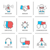 Business management line icons set royalty free illustration