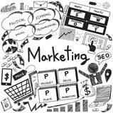 Business management and marketing handwriting doodle for education title (vector) Stock Image