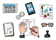 Business, management and office icons Royalty Free Stock Photography