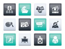Business, Management and office icons over color background. Vector icon set stock illustration
