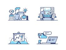 Business management icons. Business management. Organization of work process. Pixel perfect 256px, vector line icons, illustrations Stock Images