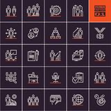 Business and management thin line icon set, business people line icons on black background. Business and management thin line icon set, business people line Stock Images