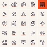 Business and management thin line icon set, business people line icons. Vector set Royalty Free Stock Photo